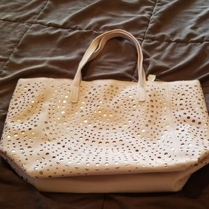 4/$25 Large pink cutout with gold underlay tote